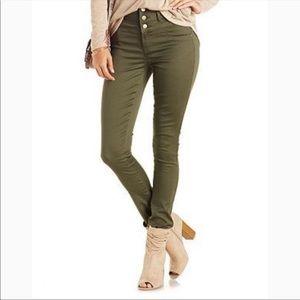 Refuge Jeans High Waisted Skinny Green Size 10